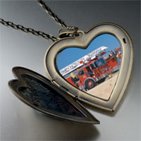 Necklace & Pendants - fire truck large photo heart locket pendant necklace Image.