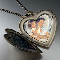 Necklace & Pendants - mary cassatt' s breakfast in bed large photo heart locket pendant necklace Image.