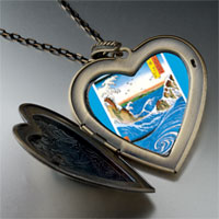 Necklace & Pendants - hiroshige' s navaro rapids large photo heart locket pendant necklace Image.