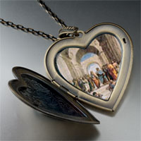 Necklace & Pendants - raphael' s school athens large photo heart locket pendant necklace Image.