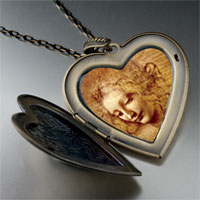 Necklace & Pendants - da vinci picture large photo heart locket pendant necklace Image.