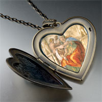 Necklace & Pendants - michelangelo' s art delphic sibyl large photo heart locket pendant necklace Image.