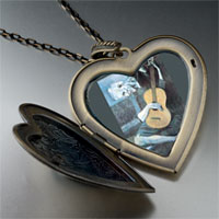 Necklace & Pendants - picasso' s old guitarist large photo heart locket pendant necklace Image.