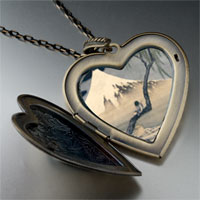Necklace & Pendants - boy on mount fuji large photo heart locket pendant necklace Image.