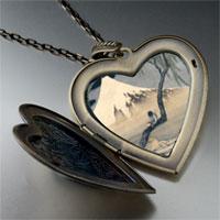 Necklace & Pendants - boy on mount fuji large photo heart locket pendant necklace Image.