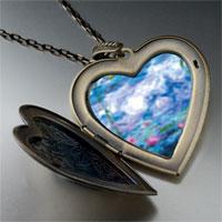 Necklace & Pendants - monet' s nympheas water lilies large photo heart locket pendant necklace Image.
