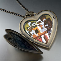 Necklace & Pendants - picasso' s musicians large photo heart locket pendant necklace Image.