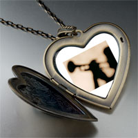 Necklace & Pendants - trumpet music silhouette large photo heart locket pendant necklace Image.