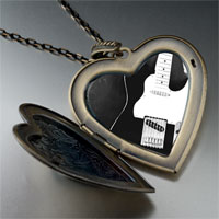 Necklace & Pendants - black electric guitar large photo heart locket pendant necklace Image.