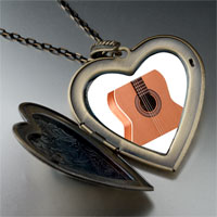 Necklace & Pendants - classic guitar large photo heart locket pendant necklace Image.