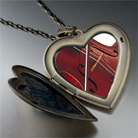 Necklace & Pendants - classical music violin large photo heart locket pendant necklace Image.