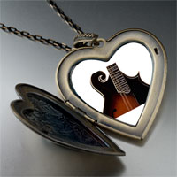 Necklace & Pendants - hollow body electric guitar large photo heart locket pendant necklace Image.