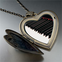 Necklace & Pendants - classic piano keys large photo heart locket pendant necklace Image.