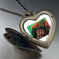 Necklace & Pendants - violin string music large photo heart locket pendant necklace Image.