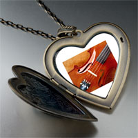 Necklace & Pendants - first chair violin large photo heart locket pendant necklace Image.