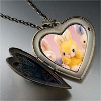 Necklace & Pendants - stuffed bunny rabbits large photo heart locket pendant necklace Image.