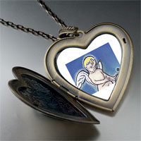 Items from KS - cupid bringing love large photo heart locket pendant necklace Image.