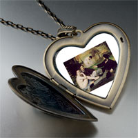 Necklace & Pendants - manet luncheon grass art large photo heart locket pendant necklace Image.