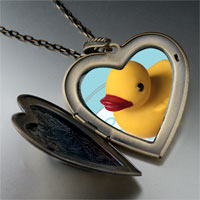 Necklace & Pendants - swimming rubber ducky large photo heart locket pendant necklace Image.