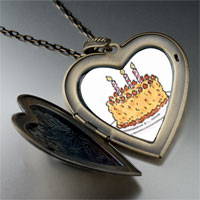 Necklace & Pendants - candles birthday cake large photo heart locket pendant necklace Image.