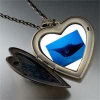 Necklace & Pendants - ocean stingray large photo heart locket pendant necklace Image.