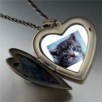 Necklace & Pendants - grey kitty large photo heart locket pendant necklace Image.