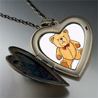 Necklace & Pendants - teddy bear red bow large photo heart locket pendant necklace Image.