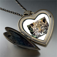 Necklace & Pendants - baby leopard cub large photo heart locket pendant necklace Image.