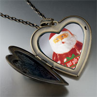 Necklace & Pendants - santa clause got gift large photo heart locket pendant necklace Image.
