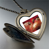 Necklace & Pendants - christmas ornament glitter balls large photo heart locket pendant necklace Image.