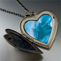 Necklace & Pendants - cresting blue wave large photo heart locket pendant necklace Image.