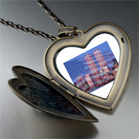 Necklace & Pendants - american twin towers large photo heart locket pendant necklace Image.