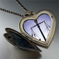 Necklace & Pendants - scales law justice large heart locket pendant necklace Image.