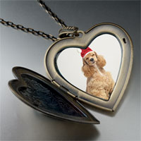 Necklace & Pendants - shaggy santa dog large heart locket pendant necklace Image.