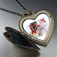 Necklace & Pendants - mouse christmas party large heart locket pendant necklace Image.