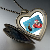Necklace & Pendants - santa christmas rudolph reindeer dogs large heart locket pendant necklace Image.