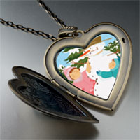 Necklace & Pendants - heart locket pendants making christmas gifts snowman large heart locket pendant necklace Image.