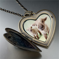 Necklace & Pendants - baby lambs large heart locket pendant necklace Image.