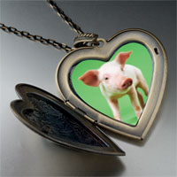 Necklace & Pendants - pig photo large heart locket pendant necklace Image.
