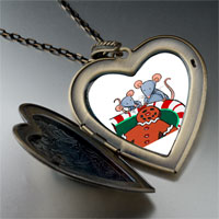 Necklace & Pendants - mice eating gingerbread man cookie large heart locket pendant necklace Image.
