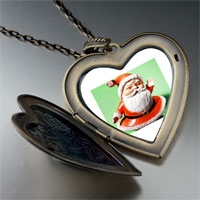 Necklace & Pendants - waving santa claus large heart locket pendant necklace Image.