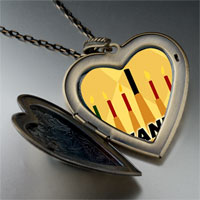 Necklace & Pendants - kwanzaa kinara candles holiday large heart locket pendant necklace Image.
