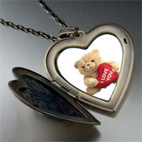 Necklace & Pendants - i love bear large heart locket pendant necklace Image.