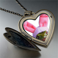 Necklace & Pendants - easter bunny frog large heart locket pendant necklace Image.