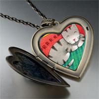 Necklace & Pendants - sleeping kitty cat large heart locket pendant necklace Image.