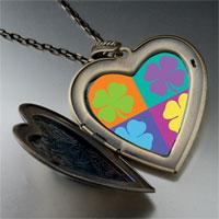 Necklace & Pendants - colorful leaf clovers large heart locket pendant necklace Image.