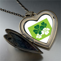 Necklace & Pendants - green leaf clovers large heart locket pendant necklace Image.
