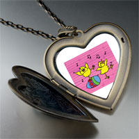 Necklace & Pendants - easter birds singing large heart locket pendant necklace Image.