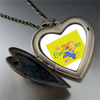 Necklace & Pendants - easter bunny yellow large heart locket pendant necklace Image.