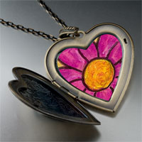 Necklace & Pendants - purple flower by amber large heart locket pendant necklace Image.